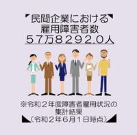 民間企業における雇用障害者数57万8292.0人。※令和2年度障害者雇用状況の集計結果(令和2年6月1日時点)